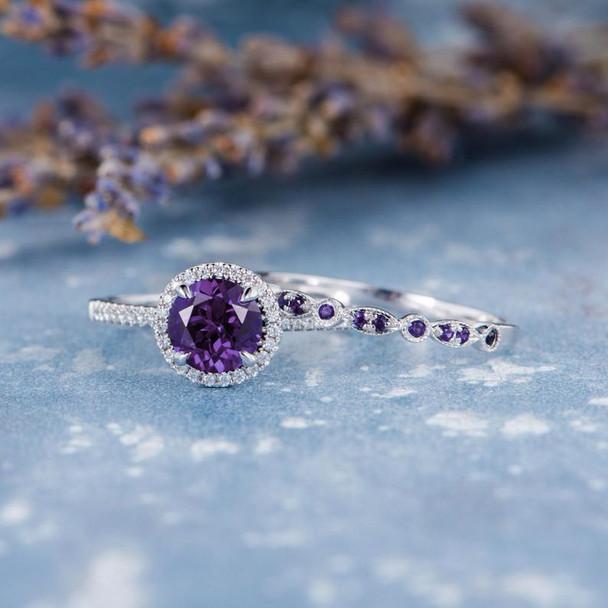 7mm Round Amethyst Engagement Ring February Birthstone 2pcs