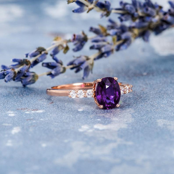 6*8mm Oval Cut Amethyst Ring Natural Diamond Anniversary Promise Gift For Her