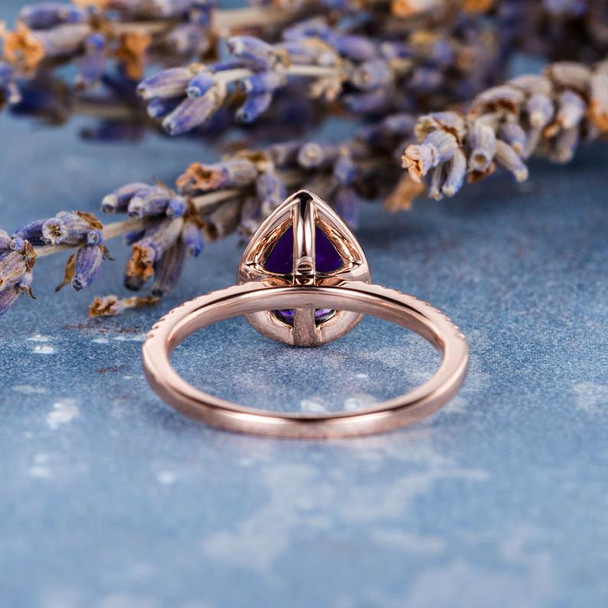 6*8mm Pear Shaped Amethyst Engagement Ring for Women February Birthstone