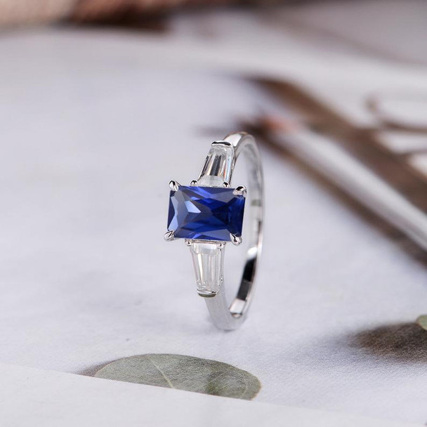 Emerald Cut Lab Sapphire Engagement Ring White Gold Baguette Cut Three Stone Ring
