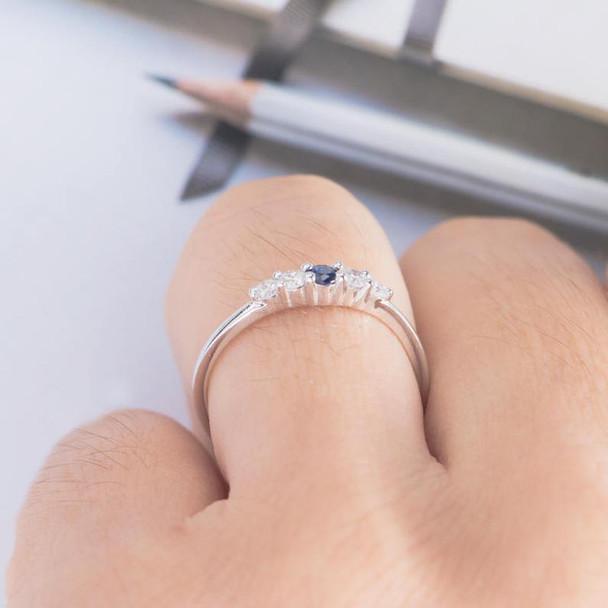 Sapphire Engagement Ring White Gold Diamond Unique Bridal Ring