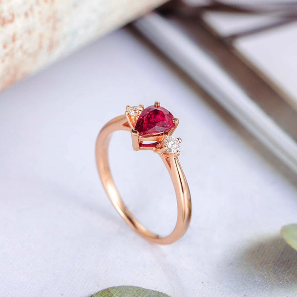Pear Ruby Engagement Ring Rose Gold Diamond July Birthstone Ring
