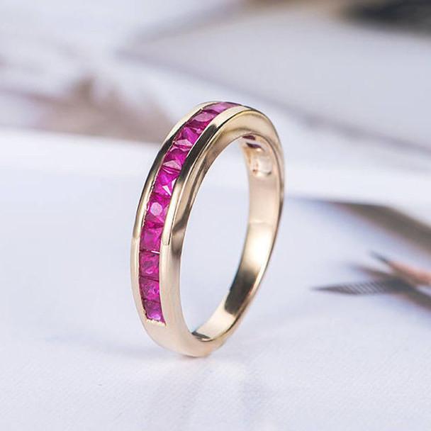 Princess Cut Ruby Wedding Band Rose Gold Channel Set Birthstone Ring