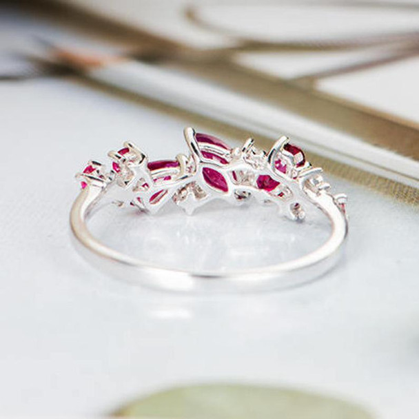 Oval Cut Pear Shaped Ruby Engagement Ring  White Gold Wedding Band