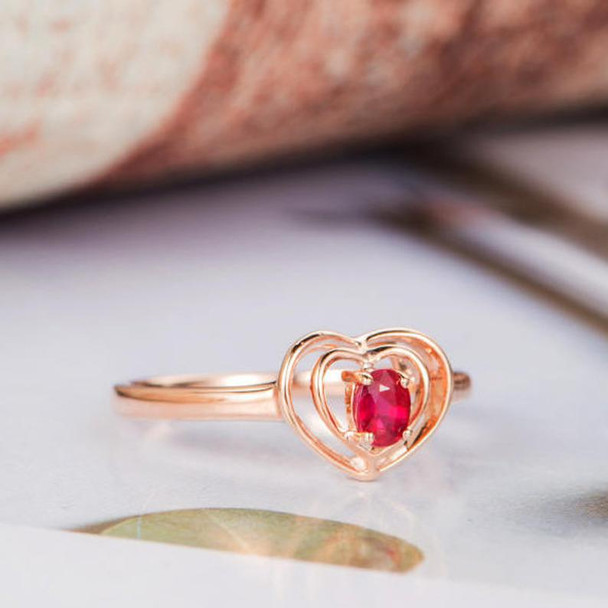Oval Cut Ruby Engagement Ring Rose Gold Heart Shaped Ring