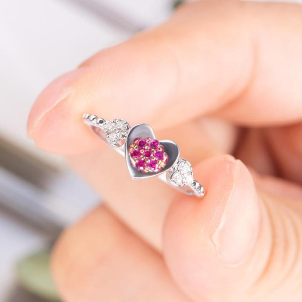 Heart Shape Ruby Engagement Ring White Gold Diamond Wedding Ring