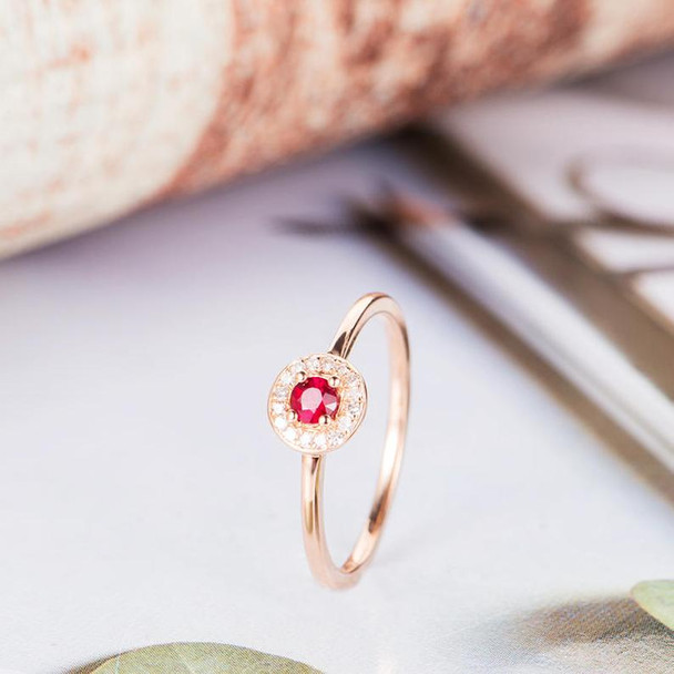 Rose Gold Wedding Bands Women Ruby Cluster Ring Diamond Halo Ring
