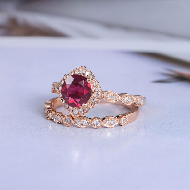 Rose Gold Lab Ruby Engagement Ring Bridal Set Diamond Wedding Ring
