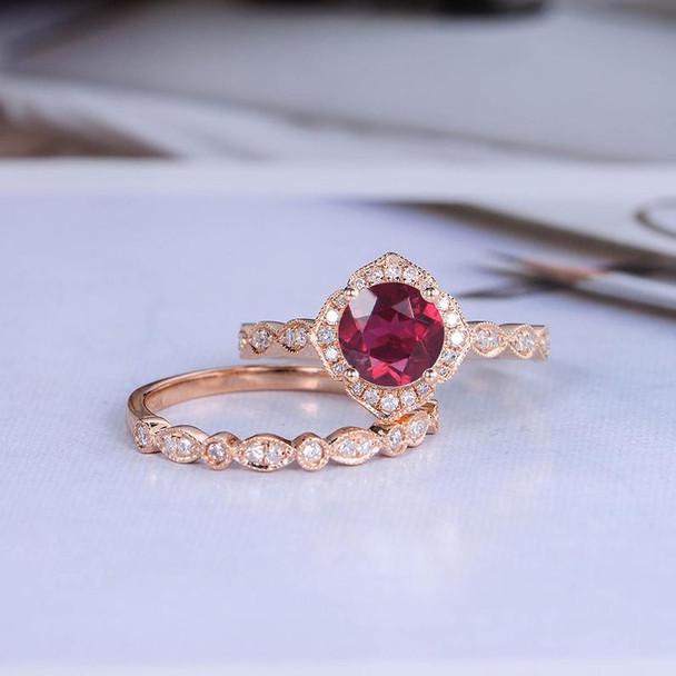 Rose Gold Lab Ruby Engagement Ring Bridal Set Diamond Wedding Ring