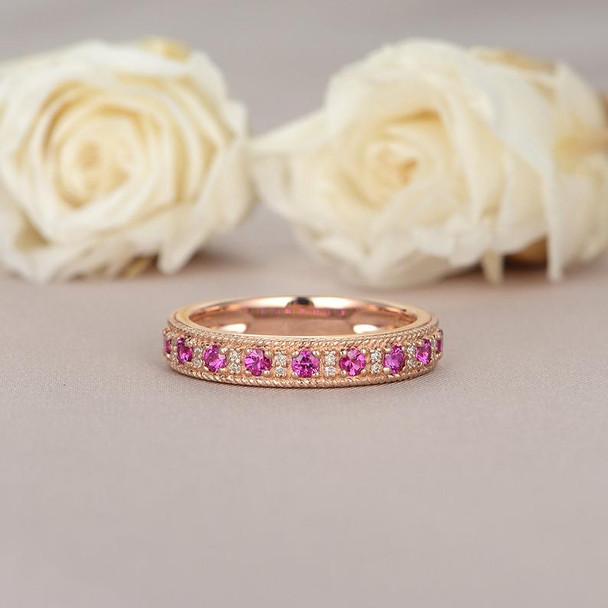Ruby Wedding Band Rose Gold Band Art Deco Milgrain Beaded Ring