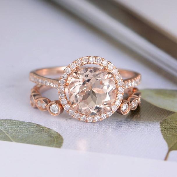 Round Morganite Open Wedding Band Engagement Ring Set