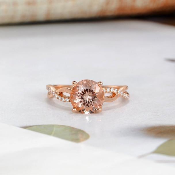 Rose Gold Infinity 8mm Round Morganite Engagement Ring