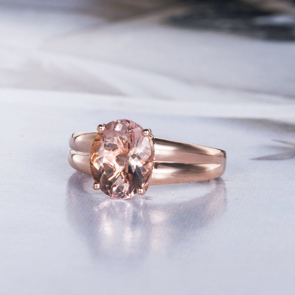 8X10mm Oval Cut Rose Gold Morganite Engagement Ring