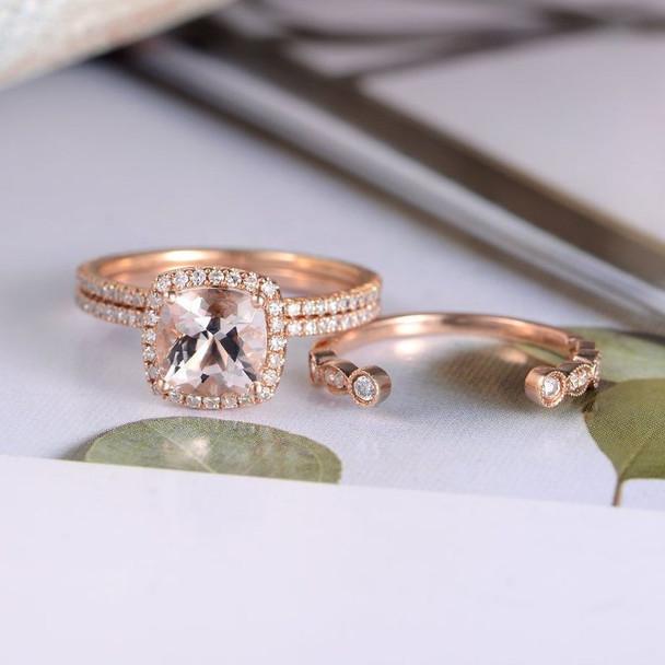Rose Gold 7mm Cushion Cut Morganite Wedding Ring Set