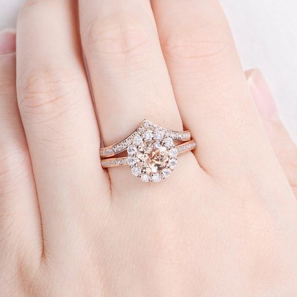 Half Eternity Ring Natural Morganite Rose Gold Bridal Ring Set