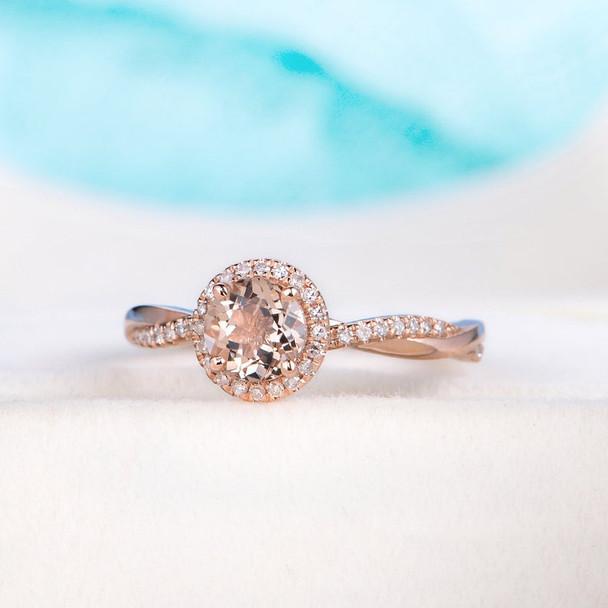 6mm Halo Rose Gold Morganite Ring Wedding Promise Ring