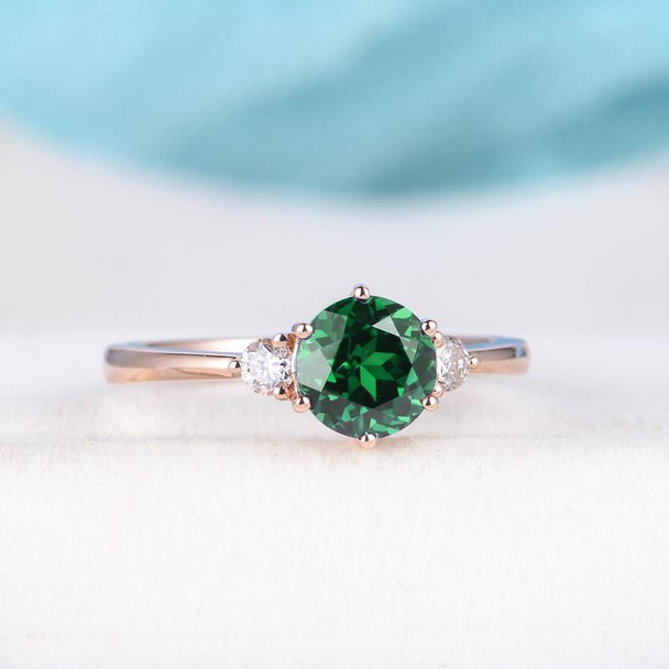 Rose Gold Engagement Ring Lab Emerald Engagement Wedding Ring