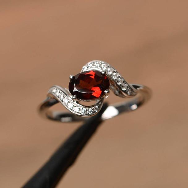 Natural Garnet Ring Oval Garnet Anniversary Ring January Birthstone Ring