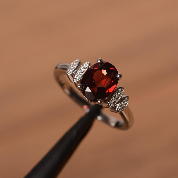Silver Ring Oval Cut Garnet Promise Ring January Birthstone Ring