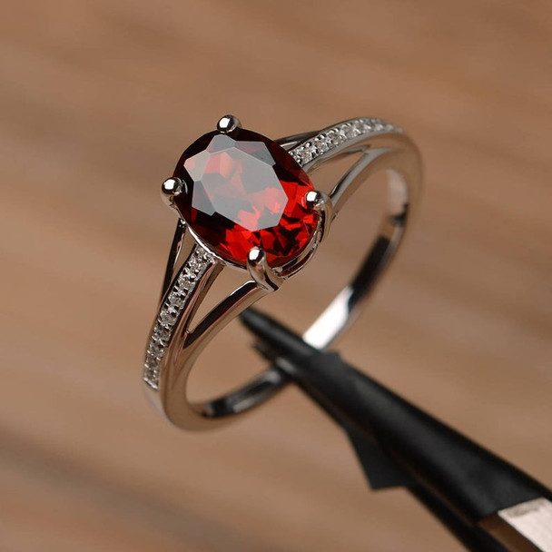 Oval Cut Sterling Silver Ring Red Gemstone Birthstone Ring Jewelry
