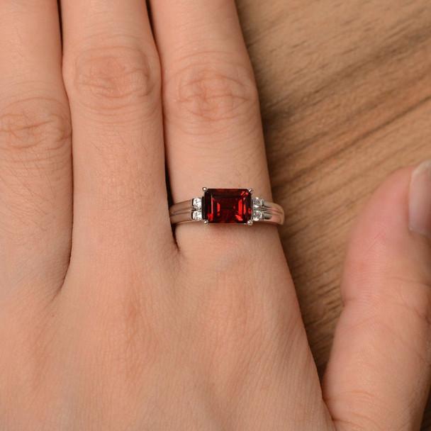 Red Garnet Ring January Birthstone Ring Emerald Cut Red Gemstone Ring