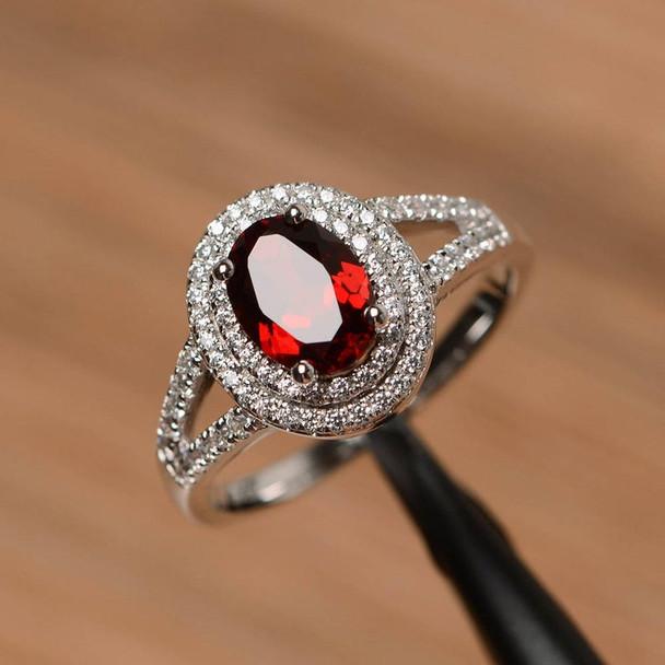 Oval Cut Red Gemstone January Birthstone Ring Garnet Promise Ring