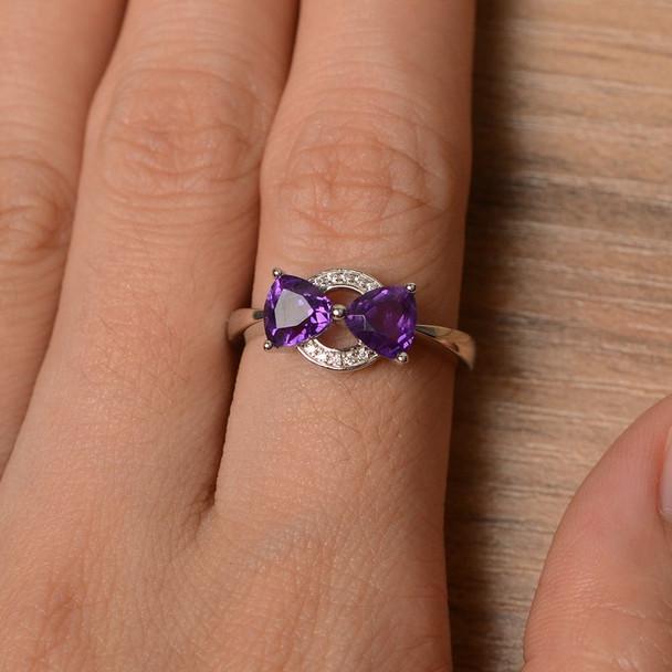 Sterling Silver Ring Purple Gemstone Ring February Birthstone Ring