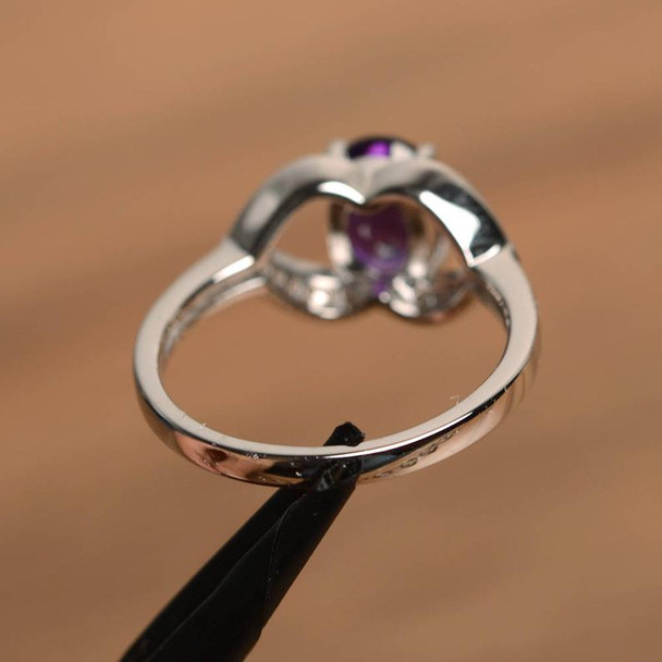 Birthstone Purple Natural Oval Cut Amethyst Ring Engagement Ring