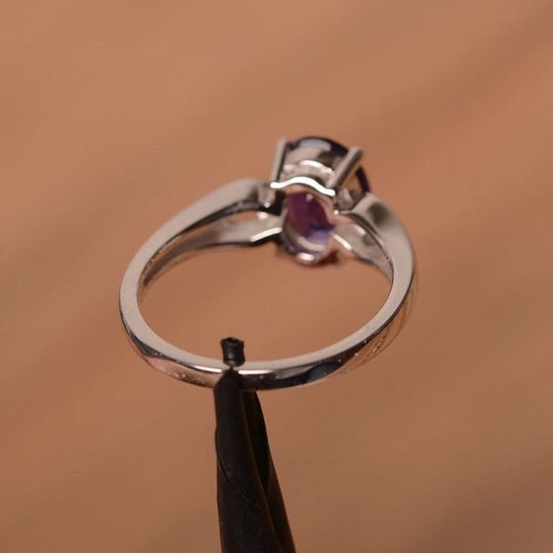 Amethyst Ring February Birthstone Oval Cut Gemstone Sterling Silver Solitaire Ring