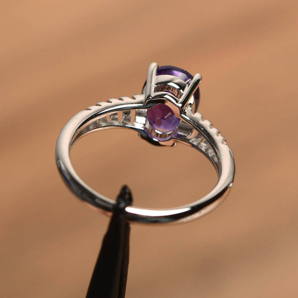 Oval Cut Gemstone Sterling Silver Solitaire Ring Amethyst Birthstone Ring