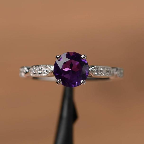 Purple Amethyst Ring Round Cut Engagement Ring Gemstone Silver Ring