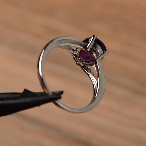 Oval Cut Solid Sterling Silver Ring Birthstone Purple Gemstone Ring