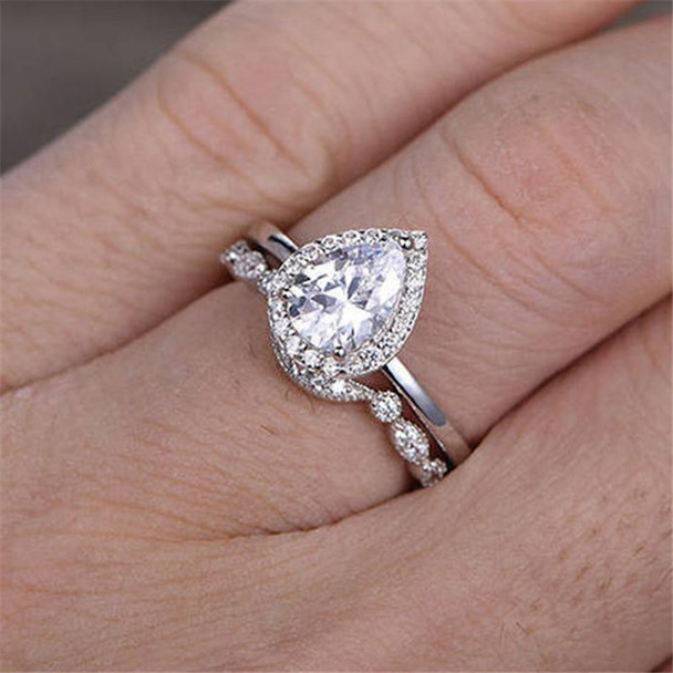 Pear Cut Engagement Ring Set 6x8mm White CZ Promise Ring Plain Gold