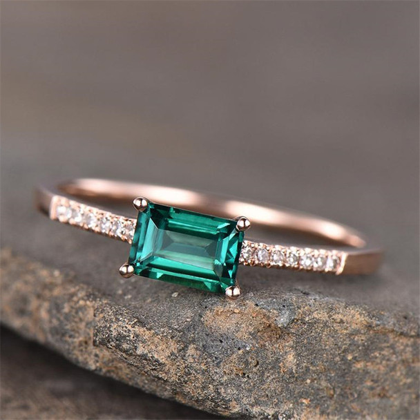 Baguette Emerald Ring Promise Ring Rose Gold Plated Sterling Silver Wedding Gemstone Ring