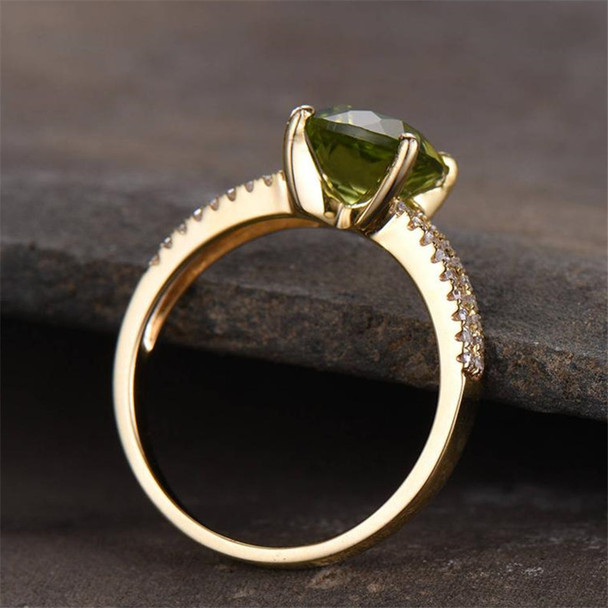 Peridot Ring Gold Plated 6mm Cushion Cut Green Bridal Ring Engagement Ring