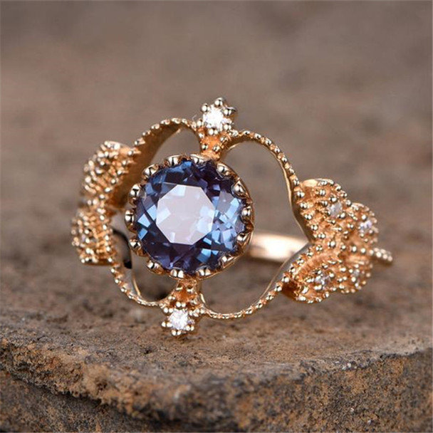 Alexandrite Ring Engagement Ring 7mm Round Unique Vintage Floral Crown Promise Ring