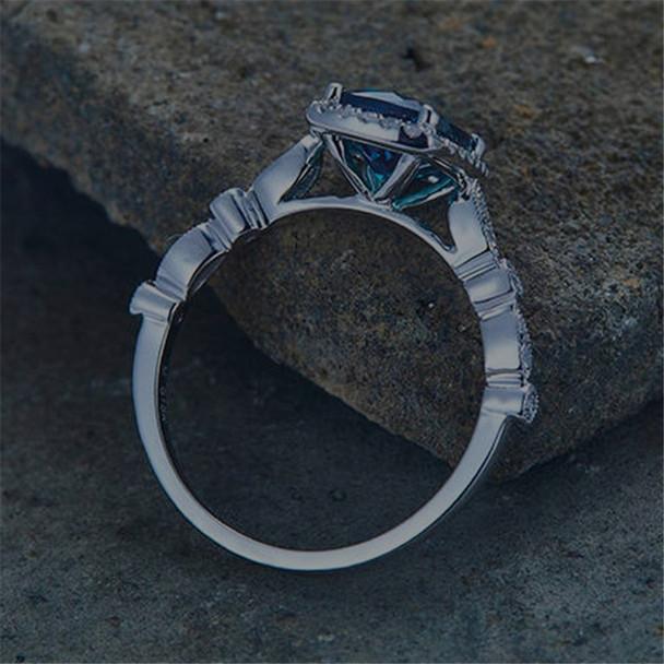 Alexandrite Ring  Engagement Ring CZ Wedding Band 6*8mm Cushion Cut Promise Ring
