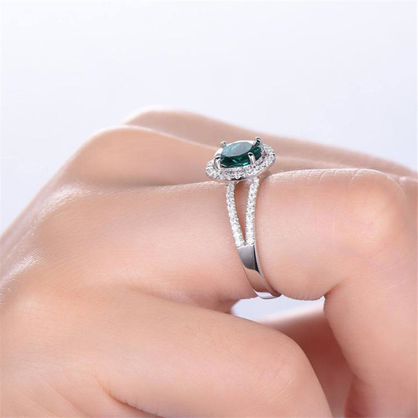 Emerald Engagement Ring 7mm Round Cut CZ Sterling Silver Wedding Bridal Ring