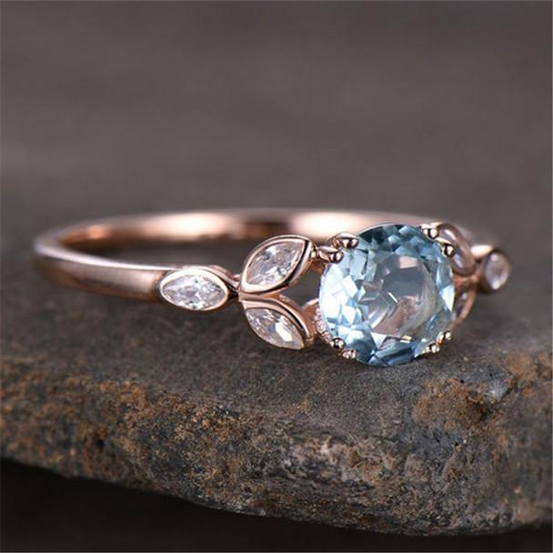 Sterling Silver Ring Round Cut Blue Aquamarine Engagement Ring CZ Wedding Ring