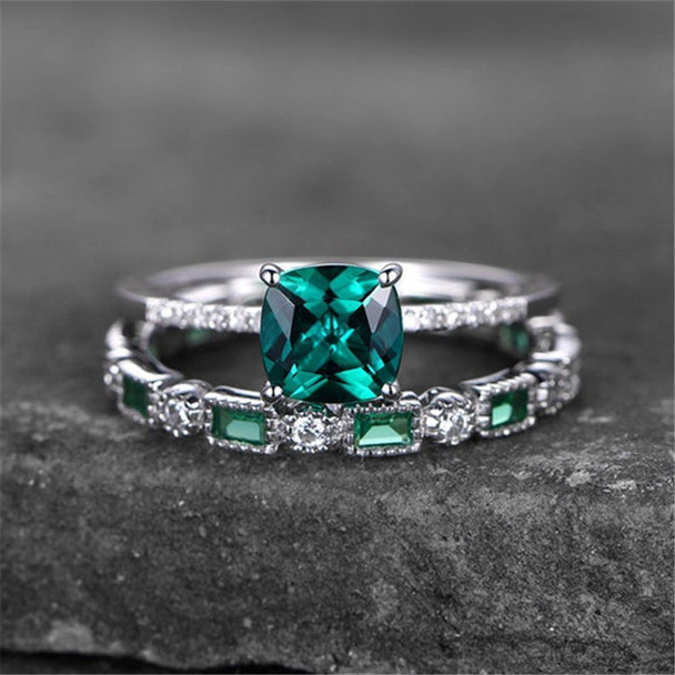 Sterling Silver Ring Set Cushoin Cut Green Emerald Engagement Ring Wedding Ring