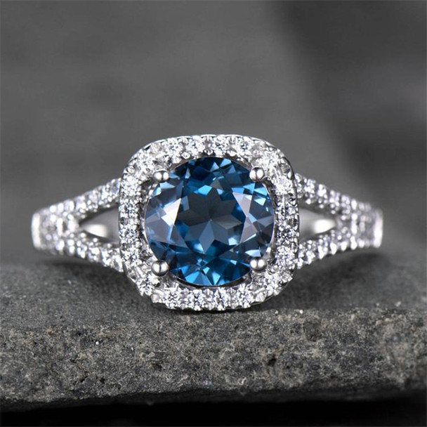 Blue Topaz Ring Split Shank Engagement Ring 7mm Round Cut Gemstone Ring