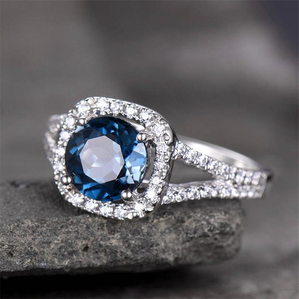 Blue Topaz Ring Split Shank Engagement Ring 7mm Round Cut Gemstone Ring