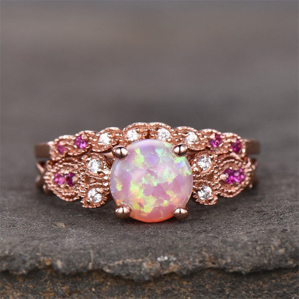 Vintage Ring Set Pink Fire Opal Engagement Ring Ruby Stones Wedding Ring