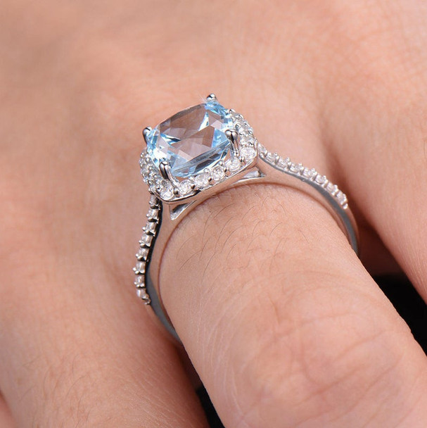 Blue Topaz Engagement Ring 8mm Cushion Cut Blue Gemstone CZ Promise Ring
