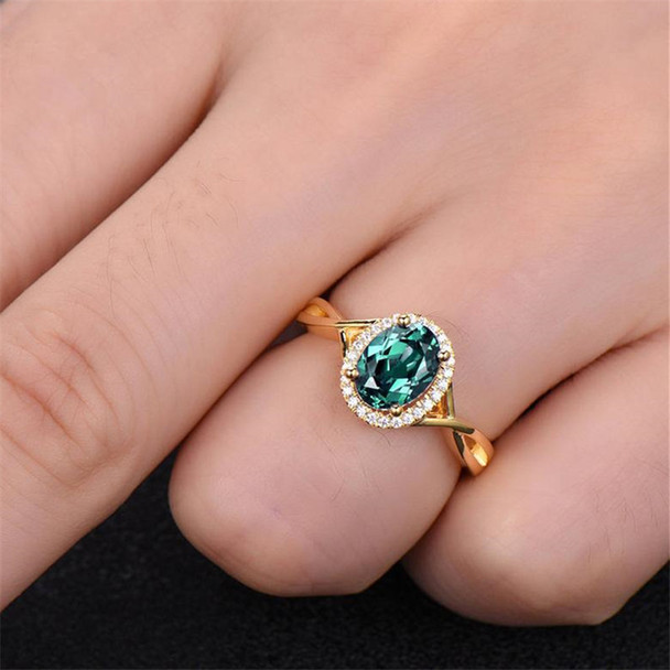 Alexandrite Ring Engagement Ring 6*8mm Oval Color Changed Gemstone Promise Ring