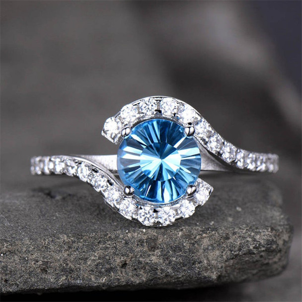 Unique Blue Topaz Engagement Ring 7mm Round Gemstone Promise Ring Curve Ring