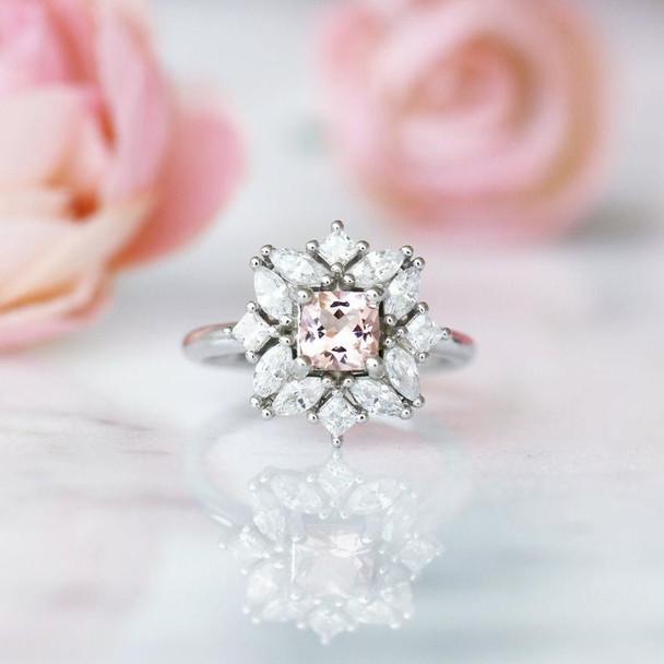 Floral Morganite Ring Sterling Silver Ring Morganite Ring Wedding Ring