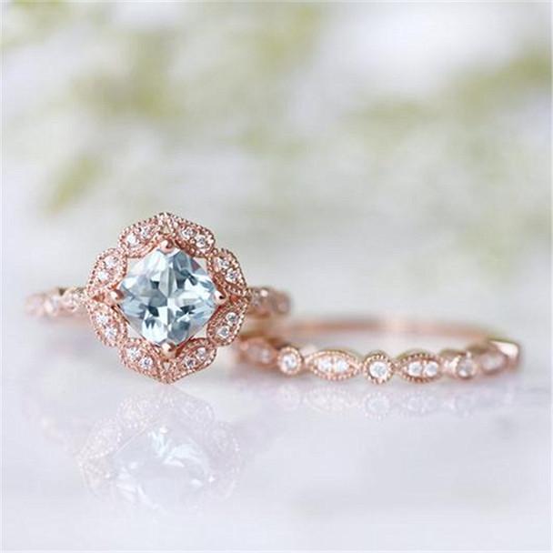 Art Deco Aquamarine Ring Set Silver Engagement Ring Set Wedding Ring Set