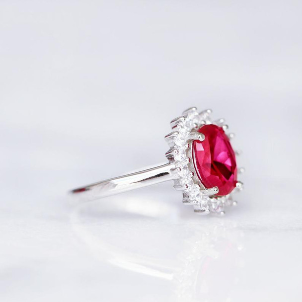 Engagement Promise Ring Oval Ruby Ring July Birthstone Red Gemstone Ring