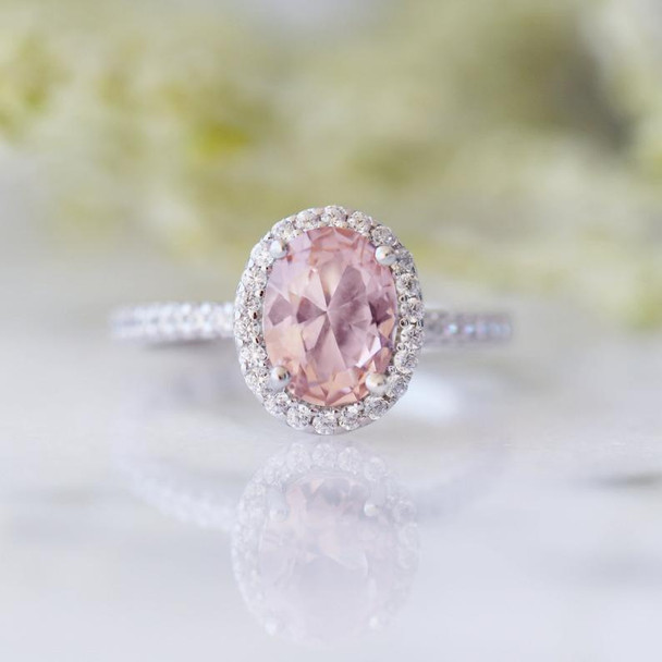Oval Morganite Ring Sterling Silver Ring Engagement Promise Ring Wedding Ring